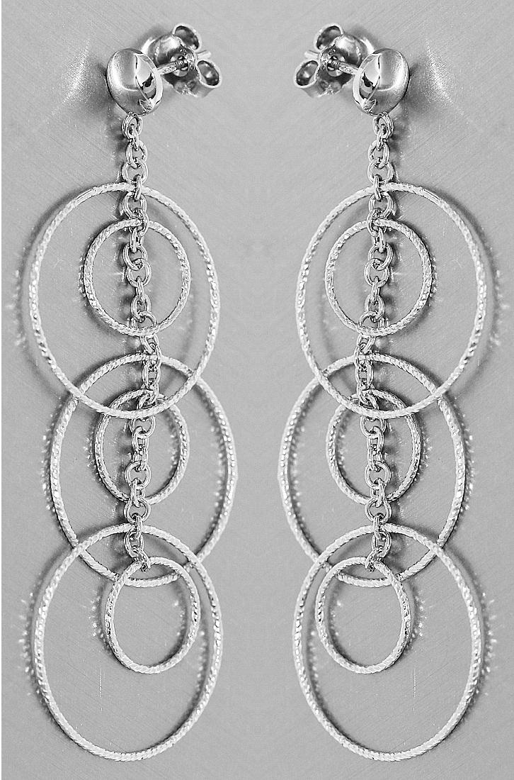 Details zu Lange Ohrhänger Weißgold 585 große Ringe Ohrstecker Ohrringe 6,3 cm