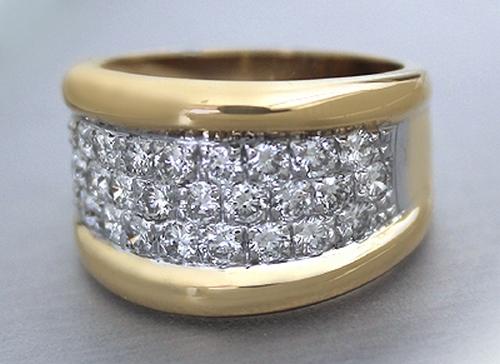 Goldring breit  Brillantring - Massiver Breiter RING GOLD 750 MIT Brillanten 1,25 ...