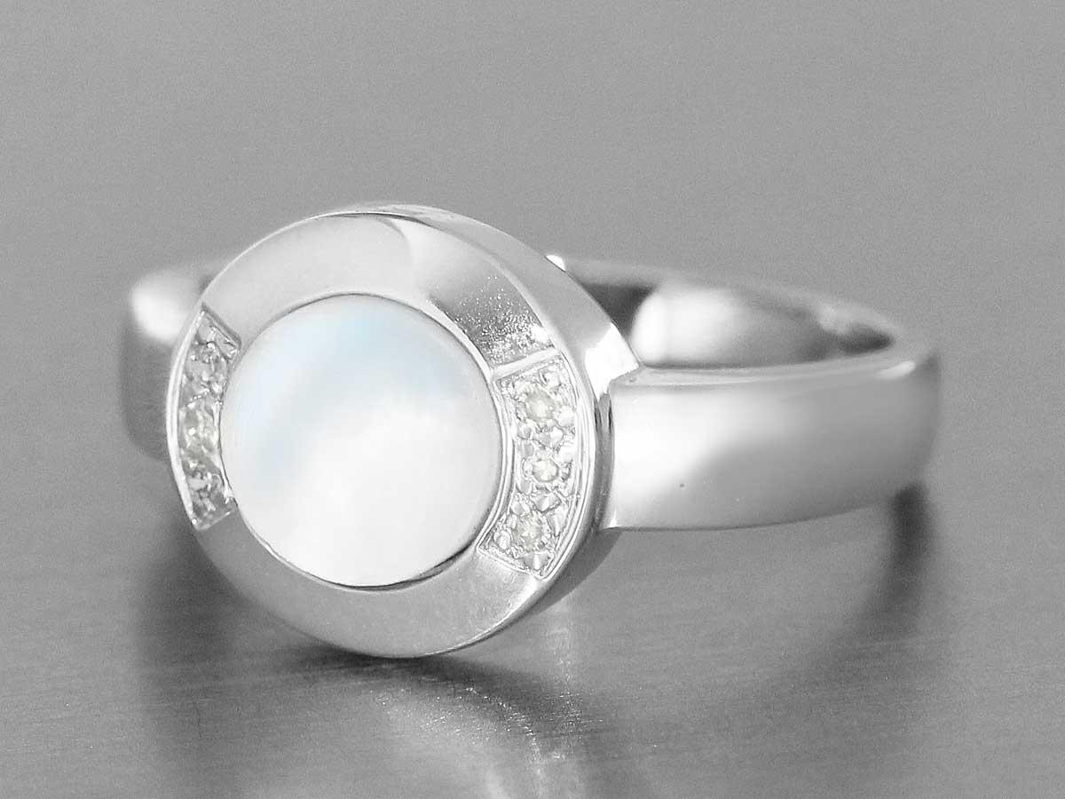 eleganter weissgoldring 585 mit perlmutt und diamanten ring weissgold diamant ebay. Black Bedroom Furniture Sets. Home Design Ideas